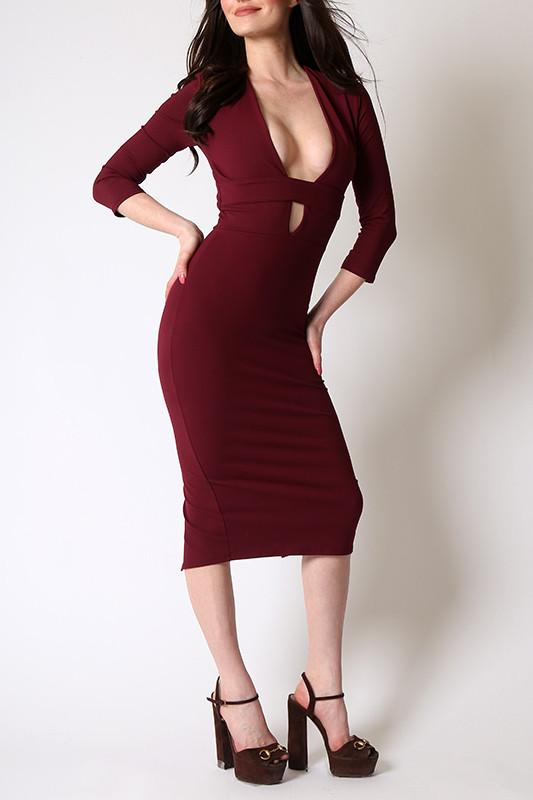 'Crescent' Long Sleeved Midi Dress