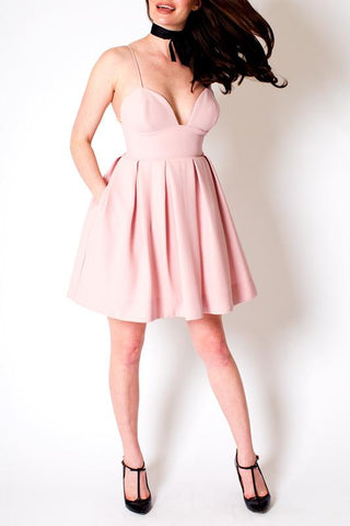 'Cupcake' Pink Empire Waist Mini Dress