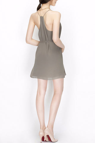 'Dandelion' Grey Tie Waisted Mini Dress