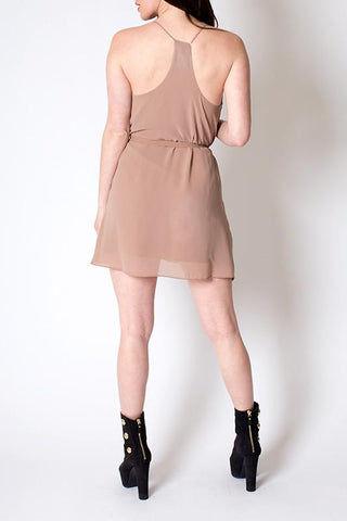 'Dandelion' Nude Tie Waisted Mini Dress