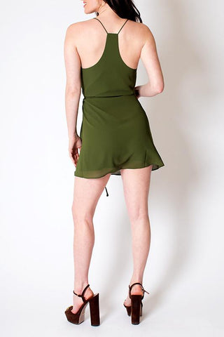 'Dandelion' Olive Tie Waisted Mini Dress