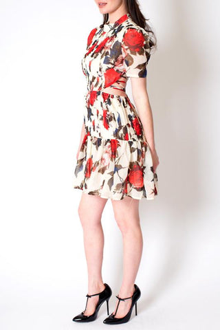 'Delilah' Red Rose Floral Criss Cross Tie Back Dress