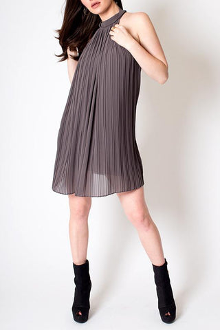 'Draping Alice' Grey Mock Neck Midi Dress