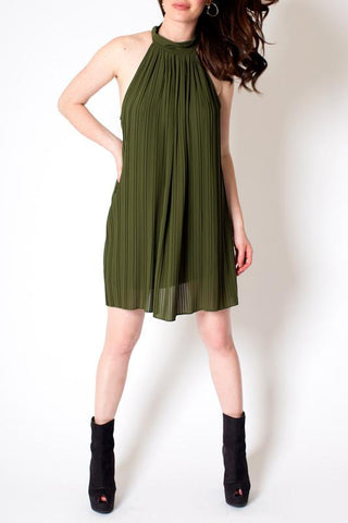 'Draping Alice' Olive Mock Neck Midi Dress