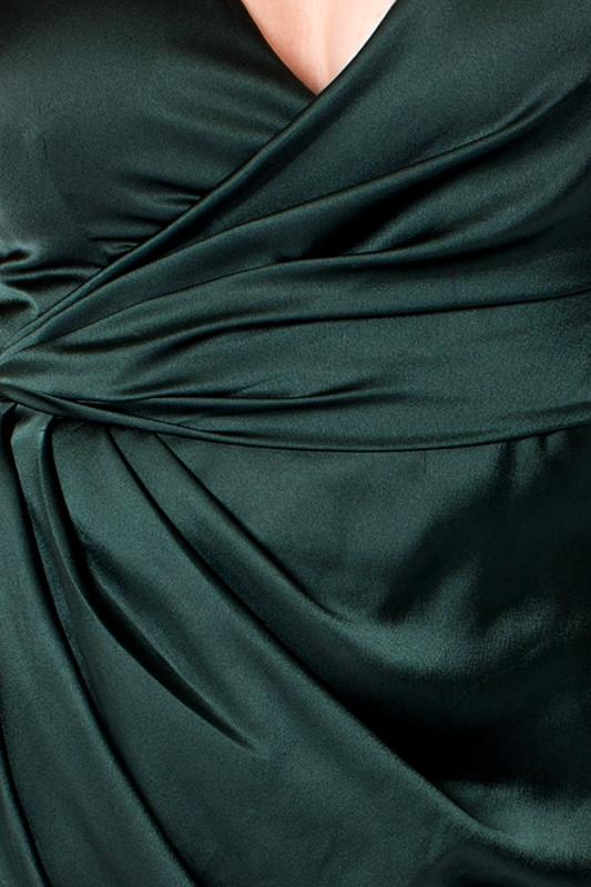 'Duchess' Emerald Green Silky Satin Dress