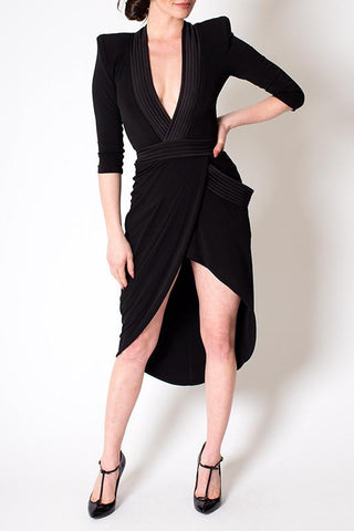 'Eye of Horus' Black Deep V Shoulder Padded Dress