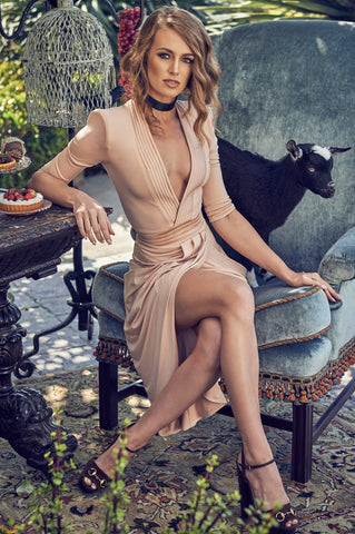 'Eye of Horus' Nude Deep V Shoulder Padded Dress