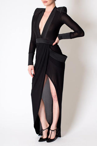 'Eye of Horus' Sheer Deep V Shoulder Padded Dress