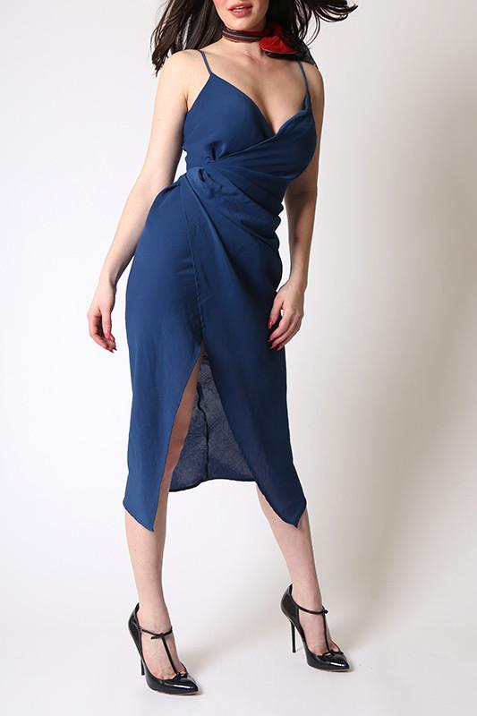 'Leona' Blue Spaghetti Strap Dress