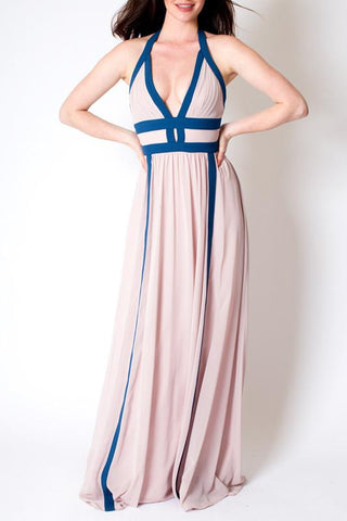 'Mary Magdalene' Blush Pink Halter Maxi Dress