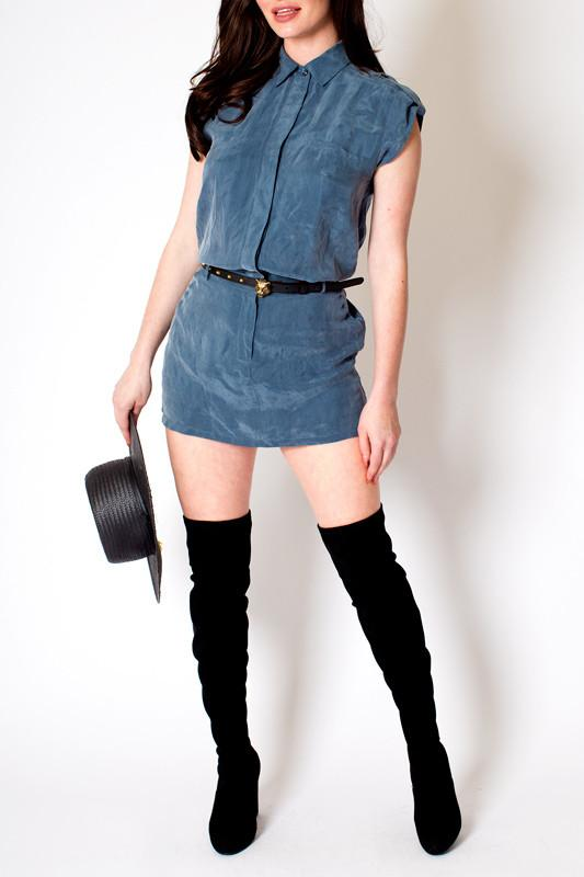 'Poppy' Blue Mock Suede Button Up Dress