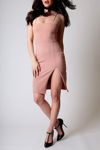 'Quartz' Rose Pink Form Fitting Midi Dress