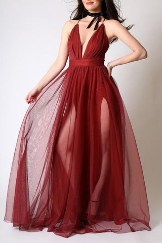 'Rapture' Double Slit Mesh Gown