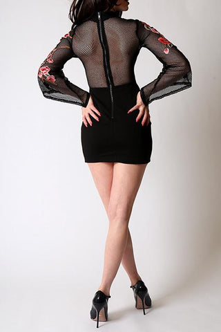 'Royale' Black Rose Applique Dress