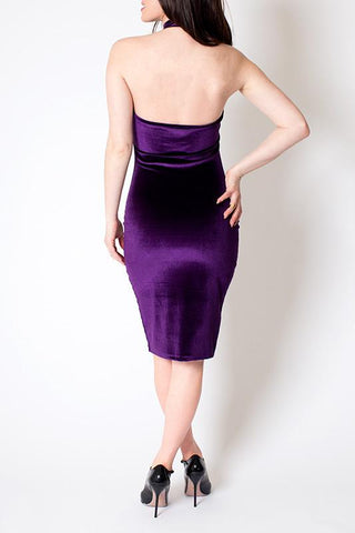 'Violet' Purple Stretch Velvet Ruffle Dress