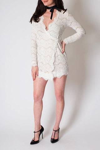 'White Duchess' Lace Wrap Mini Dress
