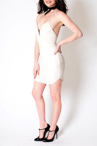 'York' Mock Suede Criss Cross Spaghetti Strap Mini Dress