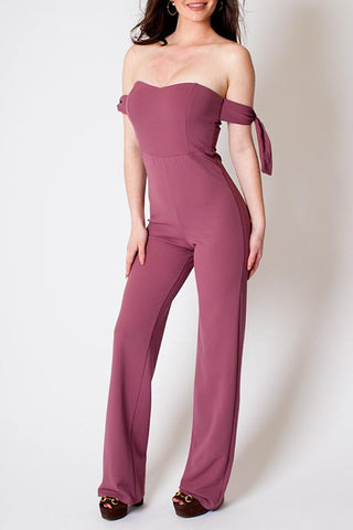 'Jane' Mauve Off the Shoulder Jumpsuit