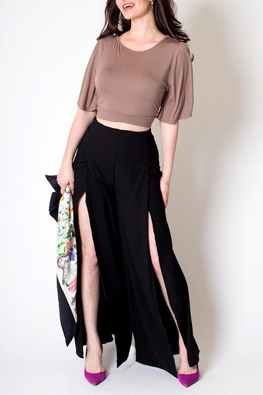 'Jenner' High Waisted High Slit Leg Pants