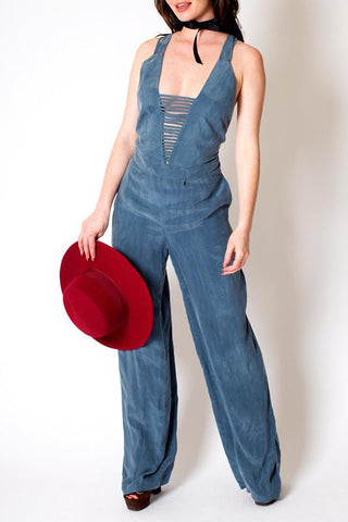 'Gina' Blue Mock Suede Tie Back Jumpsuit