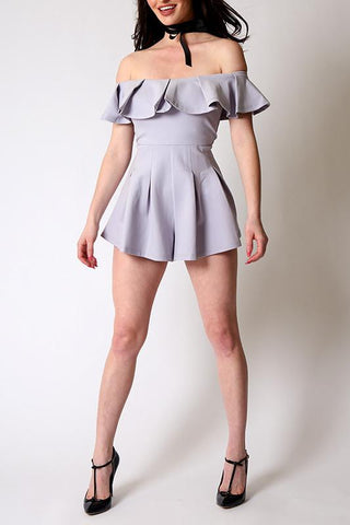 'Lilac' Ruffle Off The Shoulder Stretchy Romper