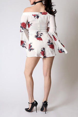 'Virgo' Floral Off The Shoulder Bell Sleeved Romper