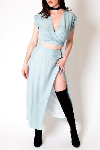 'Coco & Kenni' Baby Blue Skirt and Crop Top set