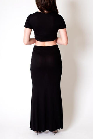 'Fanfare' Black Long Skirt and Crop Top set