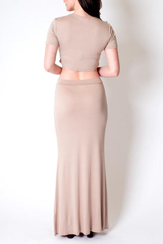 'Fanfare' Nude Long Skirt and Crop Top set