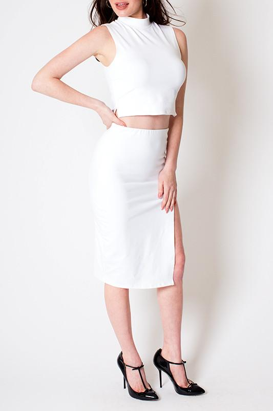 'Holiday' White Mock Neck Crop and Skirt Set