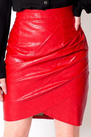 'Cherry' Red Faux Leather High Waisted Skirt