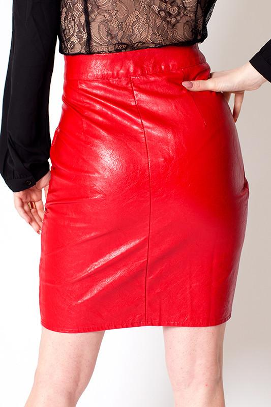 'Cherry' Red Vegan Leather High Waisted Skirt