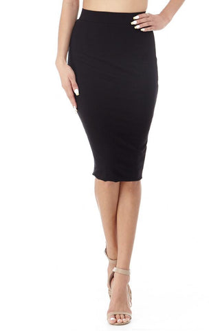 'Croquet' Black Stretchy Pencil Skirt