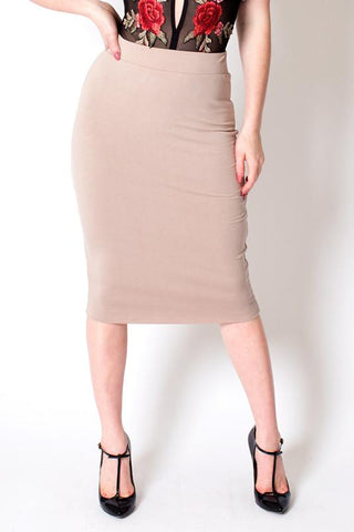 'Croquet' Nude Stretchy Pencil Skirt