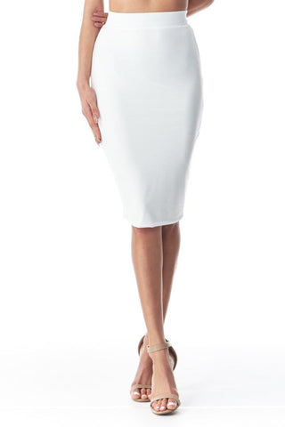 'Croquet' White Stretchy Pencil Skirt