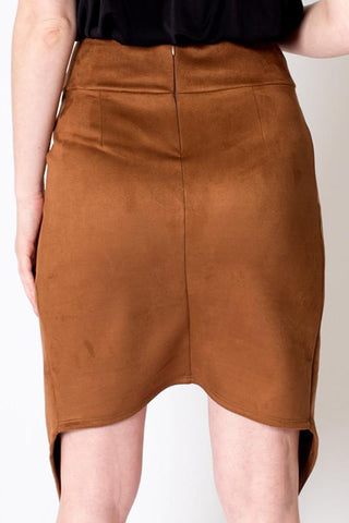 'Tao' Mocha Mock Suede Stretchy Skirt