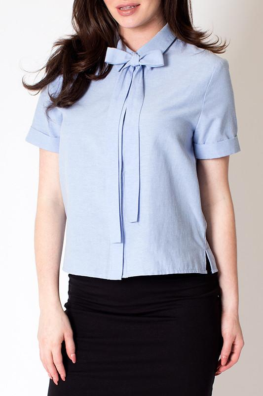 'Blue Bow' Tie Cuffed Sleeve Button Up Top