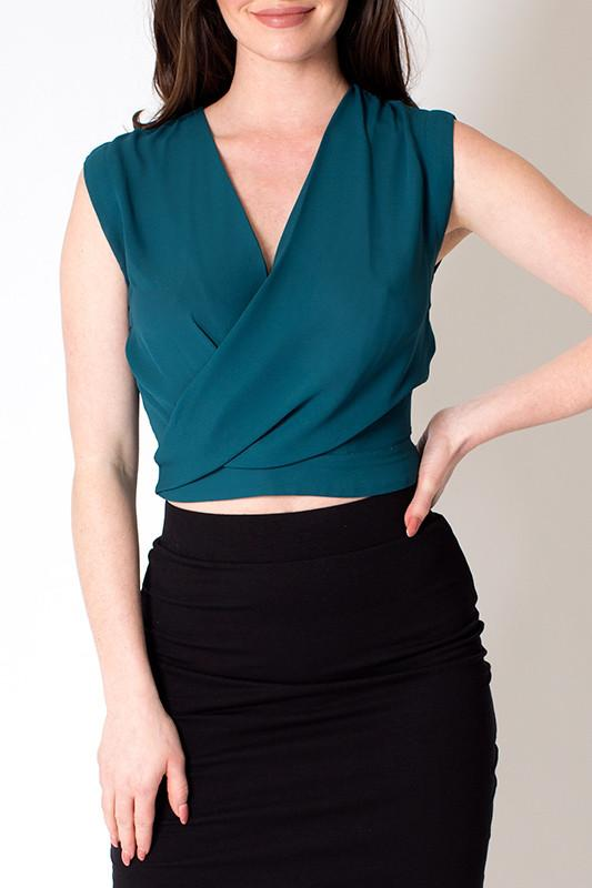 'Emerald' Draped Crop Open Back Top