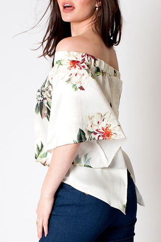 'Flora' Off The Shoulder Floral Top