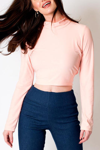 'Peach' Mock Neck Long Sleeve Crop Top