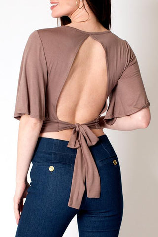 'Scalla' Nude Open Back Bell Sleeve Top