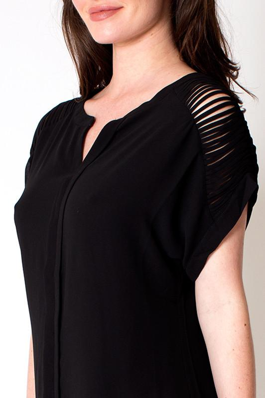 'Thicket' Black V Neck Detailed Sleeve Top