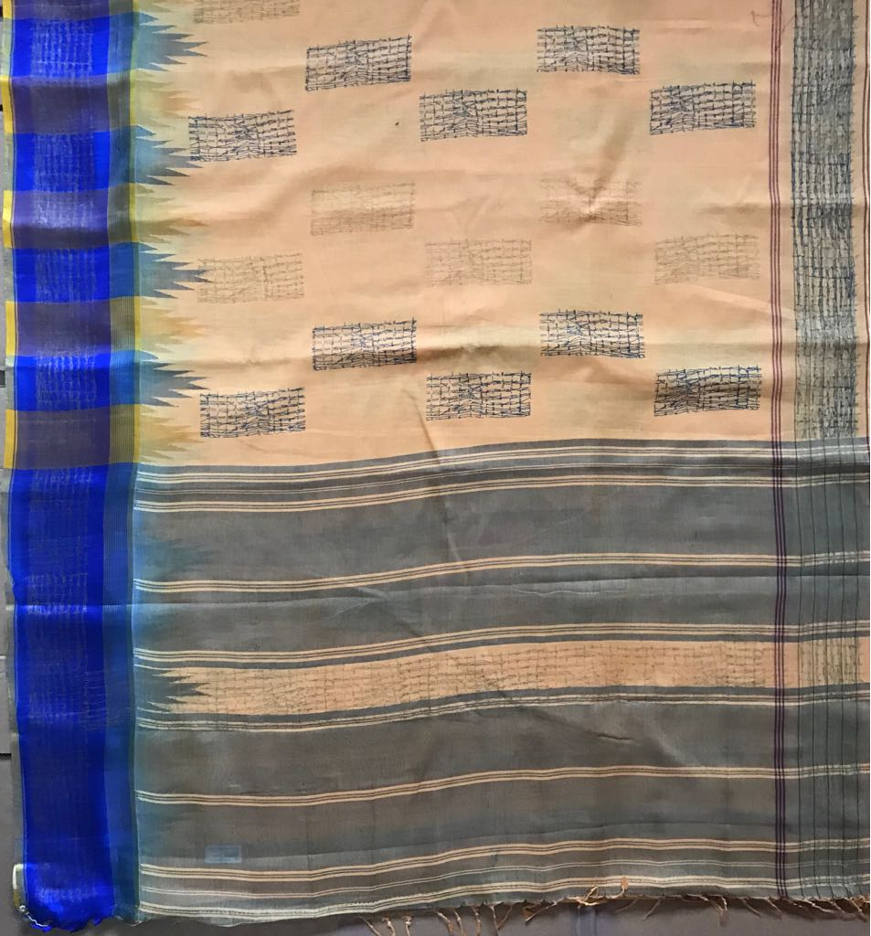 Cotton saree with silk border