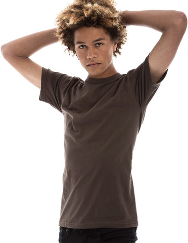 BROWN - 100% Ringspun Cotton Short Sleeve T-Shirt by RSKE
