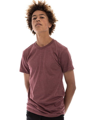 RSKE 52/48 Cotton Poly Blend Short Sleeve T-Shirt, Burgundy Heather
