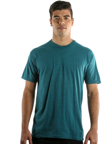 RSKE 52/48 Cotton Poly Blend Short Sleeve T-Shirt, Cyan Black Heather