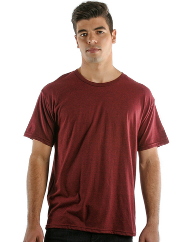 RSKE 52/48 Cotton Poly Blend Short Sleeve T-Shirt, Red Black Heather