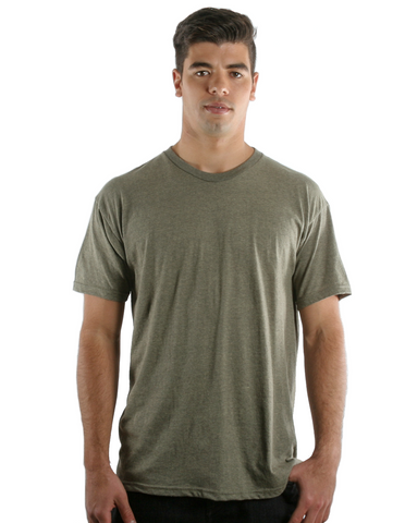 RSKE® 52/48 Cotton Poly Blend Short Sleeve T-Shirt, Sage Black Heather