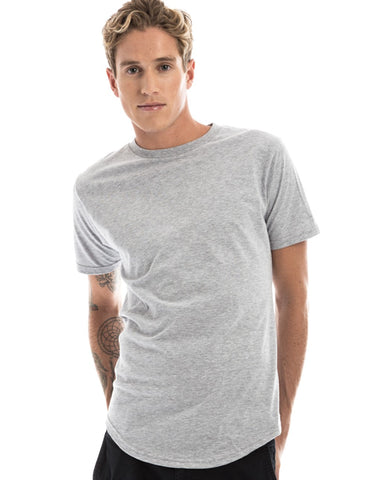 RSKE Long-Line Curved Hem T-Shirt, Heather Grey