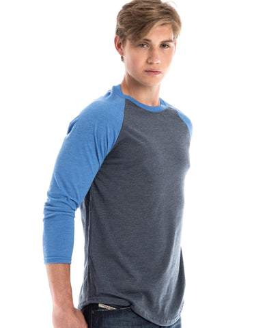 RSKE Raglan 3/4 Sleeve T-Shirt, Charcoal / Heather Blue